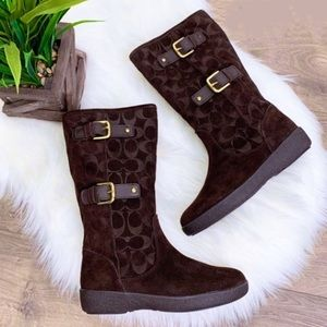 Coach Tinah Suede Boots- Chocolate